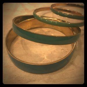 Turquoise enamel bracelet set